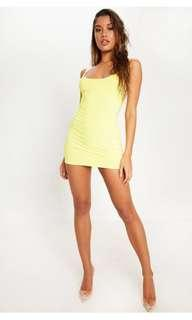 Pretty little thing neon yellow dress