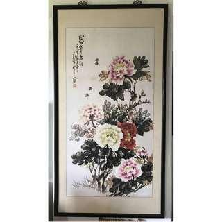 Chinese Painting Flowers Chinese Calligraphy Authentic Wooden Plastic Frame 160 cm X 85 cm