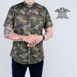 baju kecee - Kemeja Pendek Army Green N Brown Simple