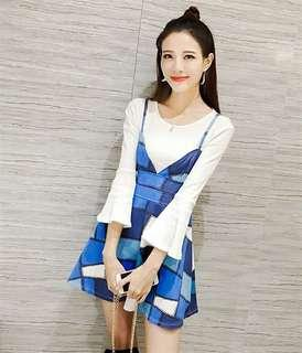Set top+overal dress (blue)