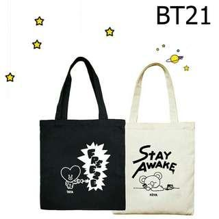 ALL 8 BLACK AND WHITE CUTE BTS BT21 Canvas totebag