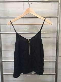 Minkpink Black Cami with front zip detail Size S