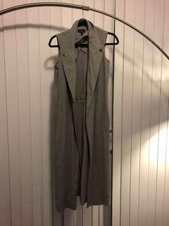Grey maxi top shop blazer vest in size 4