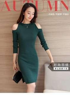 Knitted Bodycon Dress Green