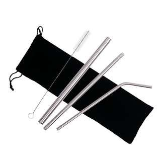 Silver 3-pc. Metal straw set