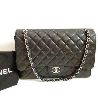 Chanel Maxi Caviar Black SHW #13 comes with holo, dust bag and replacement box reebonz (33x9x24cm) • very good condition @37,9jt