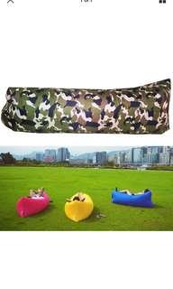 Outdoor lazy air lounge chair inflatable sleeping camping bed x2
