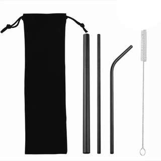Black 3-pc. Metal straw set