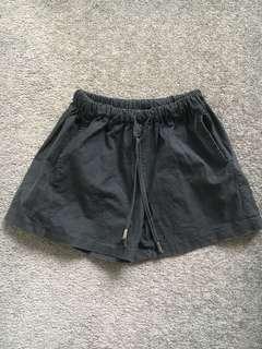 Black flared shorts
