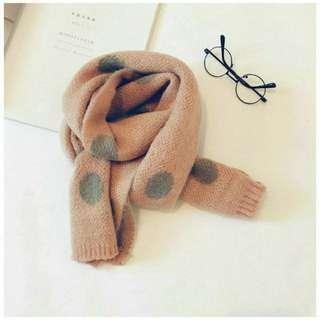 🚚 兒童波點針織圍巾