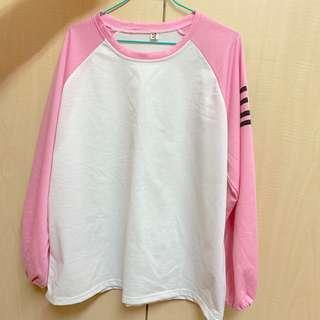 🚚 寬鬆粉色長T恤(二手)