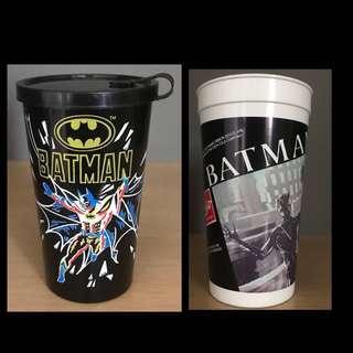 TWO Batman Collectible Cups - DC Comics - Burger King - 1989 and Coca Cola - 1992