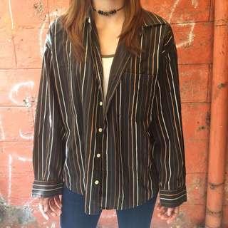 Vertical Stripes Long Sleeves Polo Shirt