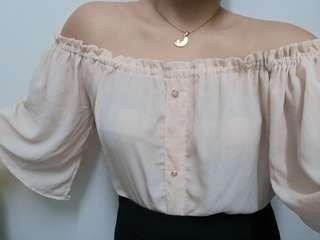 Nude off shoulder vintage top