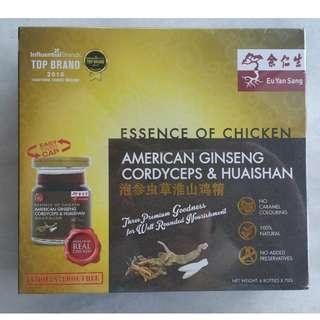 Brand New Eu Yan Sang Essence Of Chicken With American Ginseng, Cordyceps & Huaishan 6 bottles x 70g each expire 22 Jul 2020