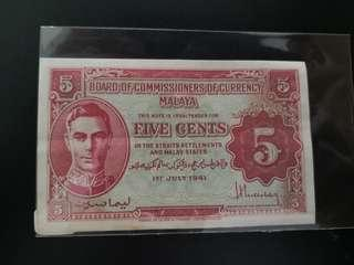 BOSCO Board of commissioners of currency malaya 5cents 1st July 1941