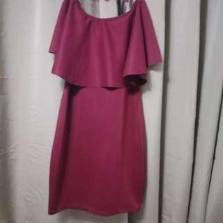 Red / Maroon / Wine Off-shoulder Dress