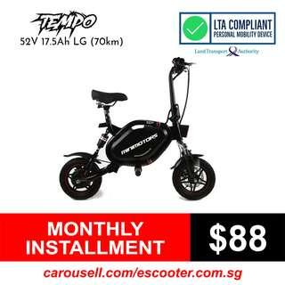 Minimotors Tempo 52V 17.5Ah LG MJ1 Electric Scooter (LTA Compliant E-Scooter) Limited stocks!!!