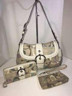 Coach Bag with Matching Wallet and Wristlet Set