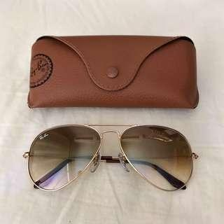 Ray-Ban RB3025 58 Light Brown Gradient & Gold Sunglasses