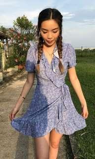 Blue floral ruffle wrap dress