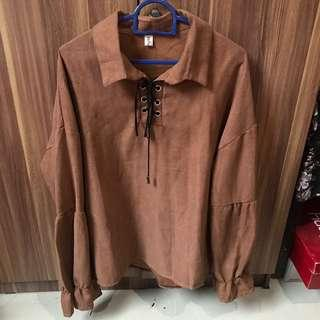 BKK Bangkok Brown Puffy Long Sleeve Blouse