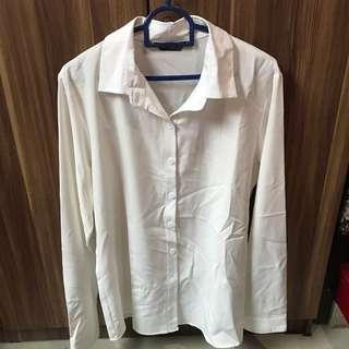 White Basic Long Sleeve Shirt