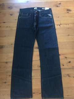 Bnwt men's Replay flat denim jeans size 32 RRP$210