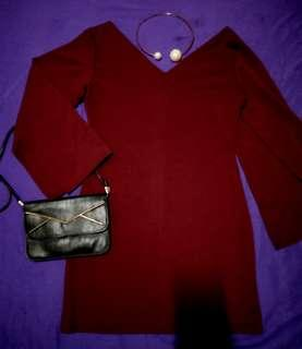 #BAPAU V neck maroon dress