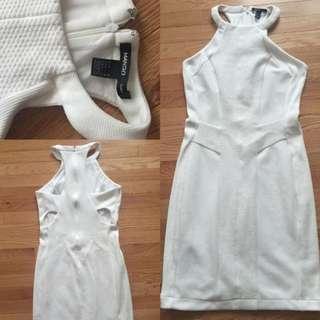 MANGO Suit Collection Medium White Cutout Dress