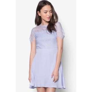 🚚 NAVY BLUE SOMETHING BORROWED LACE DRESS
