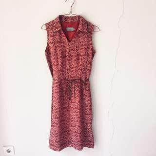 Accent red floral dress