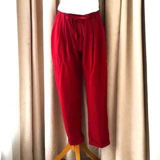 Zara Bershka style Jogger Pants Celana Santai Merah