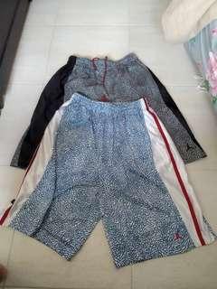 Sz large Air jordan 3 shorts, true blue and black cement