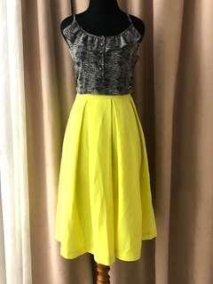 Forever New Zara Topshop Yellow Neon Midi Skirt
