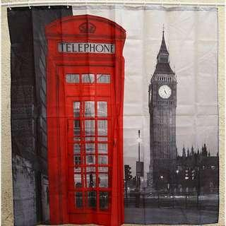 London Themed Polyester Waterproof Shower Curtain