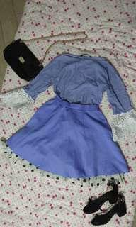 Zara women blue whit me stripped