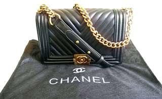 Chanel Chevron Le Boy Handbag Black Lambskin