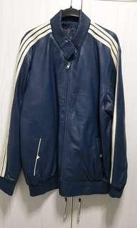 Men Genuine 3 stripes Soft Leather Jacket Size L