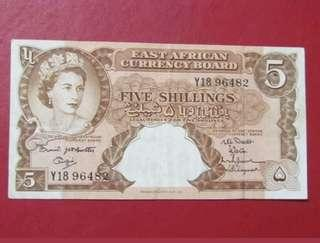 🚚 British East AFRICA 5 Shilling Banknote