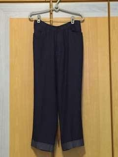 Navy Blue high waisted wide legged pants