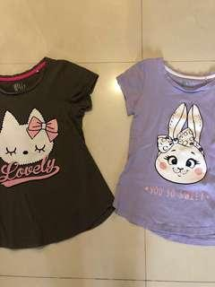 Tee shirt cute kitty and bunny