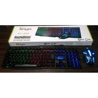 KY-888 Gaming Rainbow Backlit Keyboard and Mouse Combo
