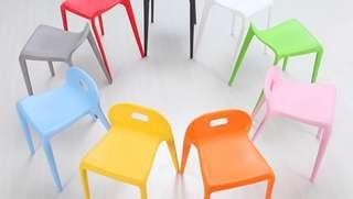 Pink or grey poly dining chairs