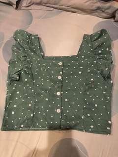 polka green crop top