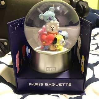 Readystock BT21 Paris Baguette Snow Globe