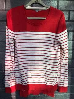紅//白。條紋。薄毛衣(cashmere )