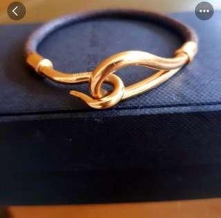 Authentic Gold Hermes big hook leather bracelet