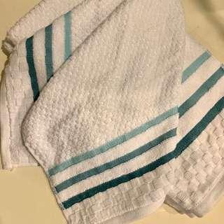 Set of 4 White and Teal Stripe Towels