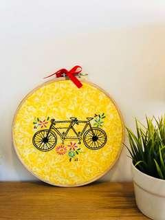 Bicycle embroidery hoop art